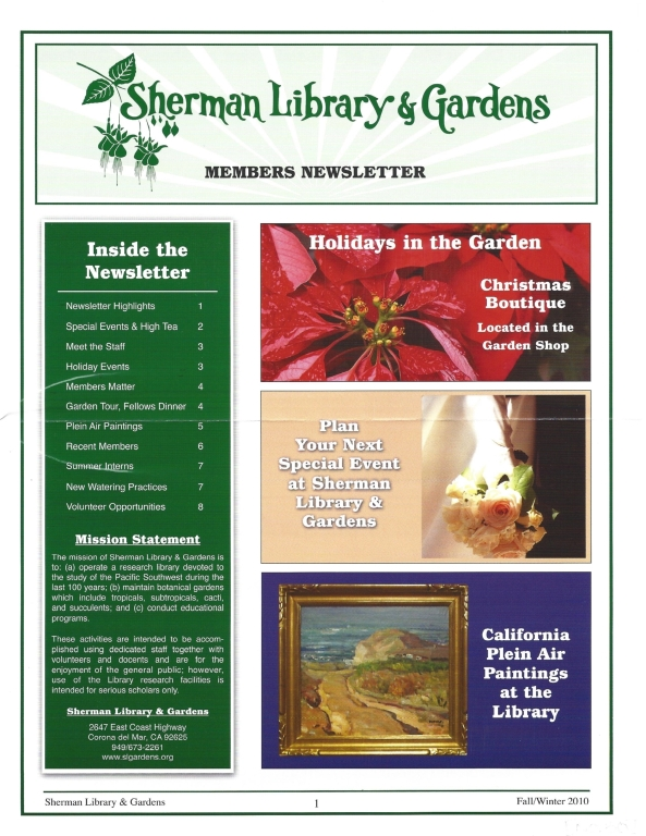 Sherman Library & Gardens Newsletter (Number 30: Fall-Winter 2010)