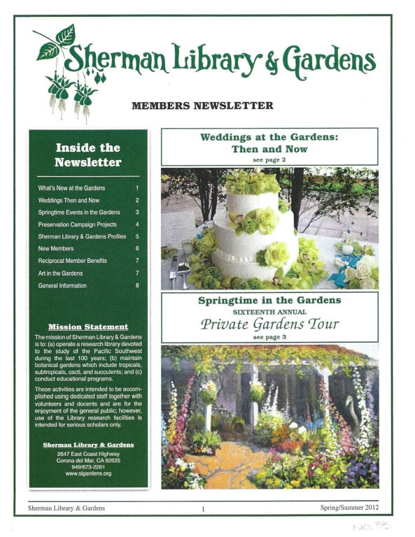 Sherman Library & Gardens Newsletter (Number 33: Spring-Summer 2012)