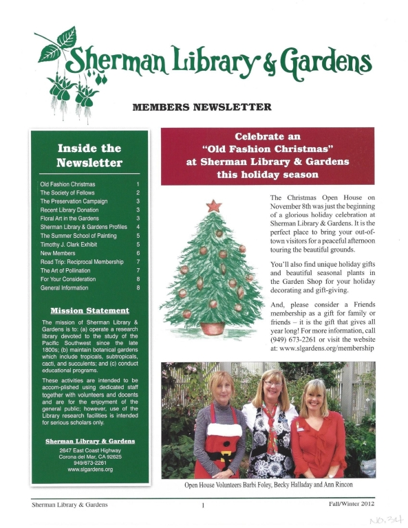 Sherman Library & Gardens Newsletter (Number 34: Fall-Winter 2012)