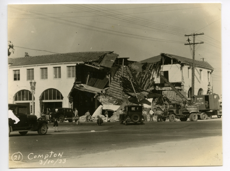 Earthquake damage to unidentified building in Compton.