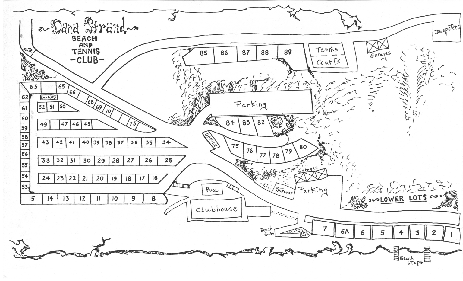 Map of the Dana Strand Beach and Tennis Club showing the location of trailer lots and community services.