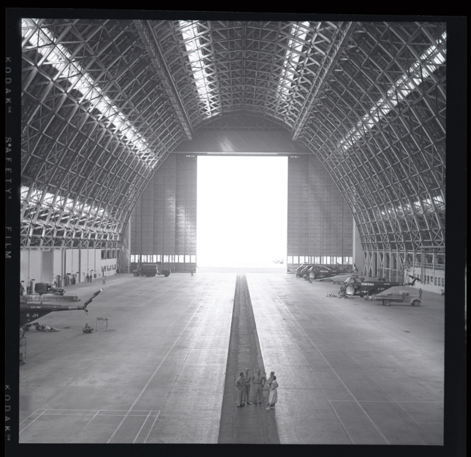 """Huge wooden blimp hangar built during WWII entirely of wood (to conserve strategic metal) and housed U.S. Navy """"Lighter-than-air"""" blimps. The blimp was used for patrol along the west coast of California to watch for enemy submarines. At one time there were 4 blimps serviced and crews were billeted there at the Lighter-than-air Station in Santa Ana, near Tustin."""