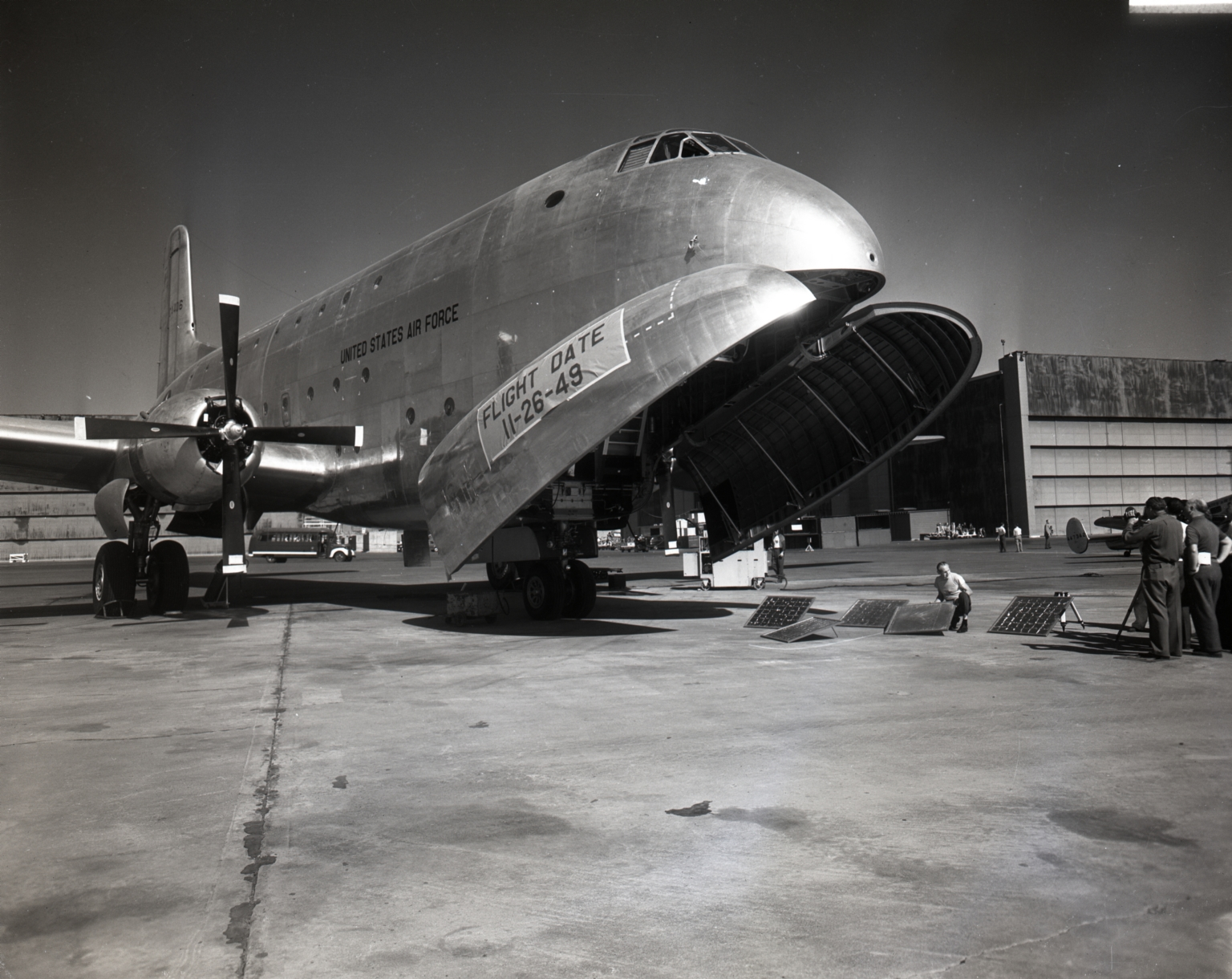"""Roll-Out"" of the first Douglas ""Globemaster"" giant cargo plane for the U.S. Air Force."